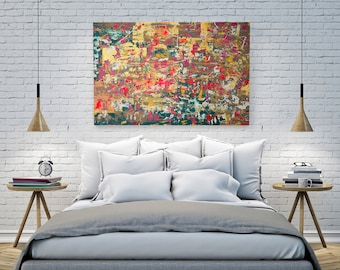 "Gold Abstract Painting, Large Painting 40""x28"" Original Action Painting, Diptych Gold Splash, Fluid Painting, Handmade Abstract Art"
