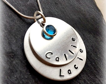 Personalised Hand Stamped Stacked Disc Family Birthstone Necklace