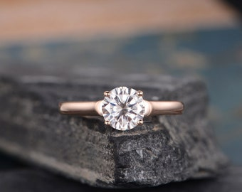 Solitaire Moissanite Engagement Ring Rose Gold Eternity Bridal Set Wedding Ring Anniversary Gift For Ring Round Cut Simple Classic