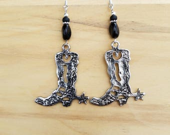 Big Black Cowboy Boot Earrings, Black Cowboy Boot Sterling Silver Earrings, Big Black Cowboy Boots Silver Earrings, Black Boot Earrings