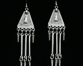 Antique Silver Plated Pewter Jewelry Earrings KU23