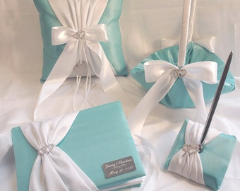 Robin's Egg Blue Wedding Collection, Personalized Guest Book, Pen, Ring Bearer Pillow, Flower Girl Basket with Engraving