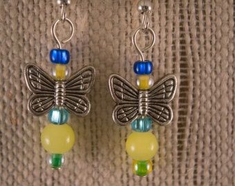 Antiqued Silver Butterfly Beads with Blue and Yellow Glass Beads