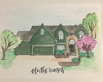 Watercolor house portrait / Watercolor home / Watercolor house / watercolor portrait / house portrait / home portrait / housewarming gift