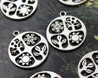 10 Four Seasons Charms Four Season Pendants Antique Silver Tone Double Sided 24 mm