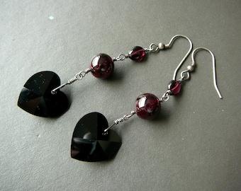 Silver Valentine dangle earrings, wire wrapped black heart earrings, red garnet sterling silver earrings, Swarovski elements earrings
