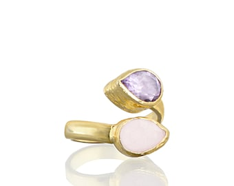 Pink Quartz and Amethyst Drops, Double Stone, Twisted Ring, 925K sterling silver coated in 18K gold vermeil with purple amethyst pink quartz