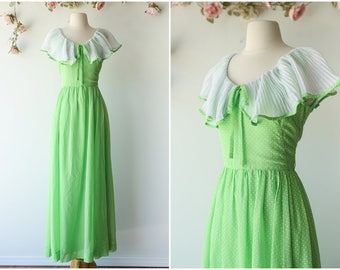 Lime Green Polka Dot Maxi Dress - Cute Green and White Polka Dot Dress - Bright 1960's Maxi Gown with Ruffle Collar by Miss Elliette