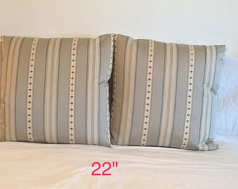 22x22 Pillow Cover; Decorator Fabric; Thick, Soft,  Beautiful Weave;Shades of Cream, Blue, LightGoldenGeen; Invisible Zipper; Striped