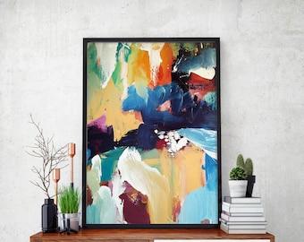 BLUE ABSTRACT Art Print - Large Abstract Art A3 + A4 Print Fine Art Poster -  Wall Art Abstract Art Prints - Original Art Modern Wall Art
