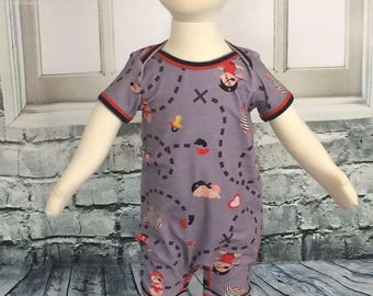 Baby Pirates one piece romper - 3/6 months - ready to ship - orginal design nickisrainbow - infant romper - baby pirates - baby romper
