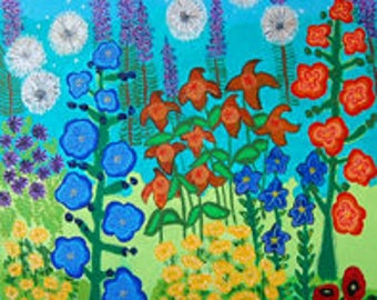 Mixed Media Canvas Print, Sun, purple, dandelions, hollyhocks, coriopsis, uplifting quote, astor,