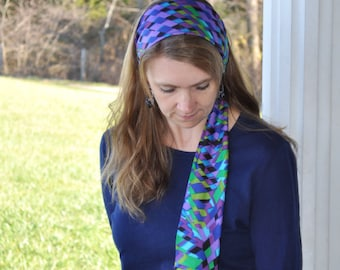 Women's Blue, Green, Purple Stretch Hair Wrap, Headband, head scarf, Hair Tie, Headcovering, Headscarf, Head covering,handmade gift,