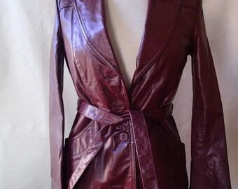 vintage boho 70s leather jacket; hipster rocker jacket; oxblood wide lapel with sash