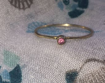 Pink Sapphire Gold Thin Ring