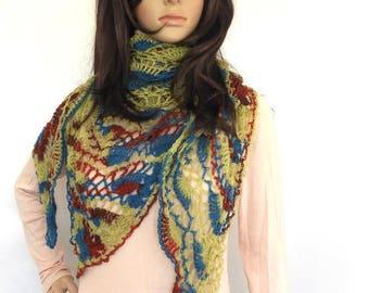 Triangular Crochet Shawl, Wrap, Stole, Multi Colour Summer wrap, Crochet Lace shawl, Triangular Crochet Scarf, shawl, wrap, Fan lace scarf