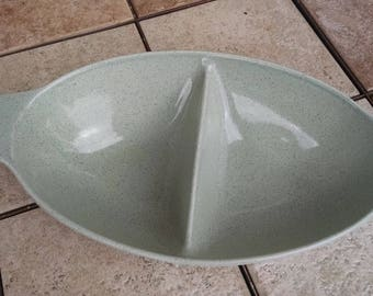 Ceramic Serving Bowl / Blue Speckled Ceramic / Divided Vegetable Bowl / Serving Bowl / Vintage Dishes / Retro Ceramic