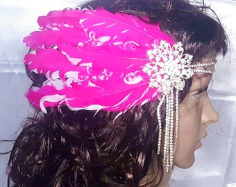 Hot Pink Feathered Jeweled Hairpiece