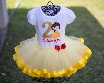 Belle Inspired Beauty Birthday Tutu Set