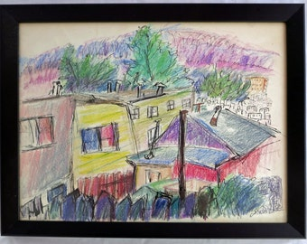 Mid Century mixed media Abstract Modern drawing