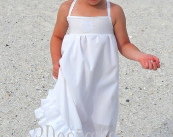 Girls size 12 etsy girls beach flower girl maxi white ruffle long dress in sizes 18 month to size publicscrutiny Gallery