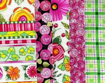 5 grands coupons tissus coton patchwork très colorés-Ref.H13-Assortiment, lot de coupons coton