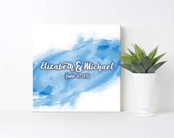 Wedding Guest Book / Alternative Wedding Guest Book / Watercolor Canvas Print Guest Book / 16x16 / Blue Watercolor Canvas / Wedding Canvas
