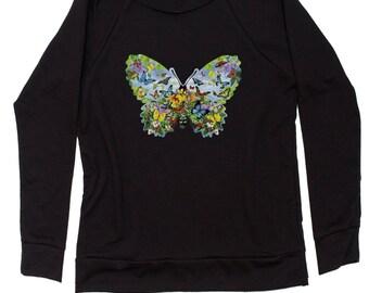 Butterflies Slouchy Off Shoulder Oversized Sweatshirt