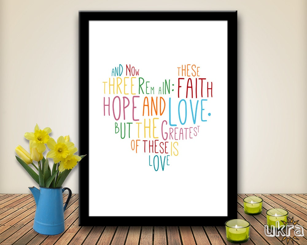 Love Quotes In The Bible Faith Hope Lovebible Verse Wall Artprintable Scripture Print