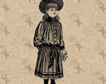 Viktorianische Kind Mädchen Fashion Vintage Bild Instant Download druckbare Clipart digitales Grafik Scrapbooking, Transfer, Jute etc. HQ 300dpi