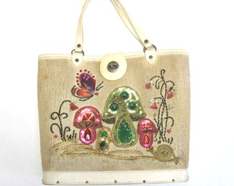 Jewel Garden Vintage Bucket Purse Tote Jeweled Beaded Handbag Collins Style