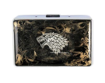 Direwolf Head Metal Wallet Inlaid in Hand Painted Enamel Black with Gold Swirl Design Credit Card Case Personalized and Color Options