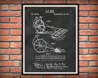Patent 1891 Floor Sweeper - Vacuum Cleaner - Art Print - Poster - Wall Art - Carpet Cleaner - Non-Electric Vacuum - Janitor Art - Janitorial