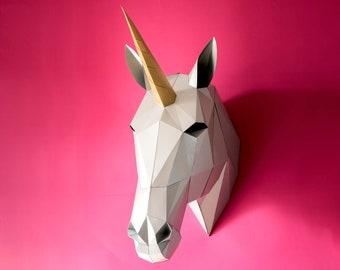 Unicorn decor 3D papercraft, Digital download, Unicorn baby shower, Printable wall decor, Unicorn nursery, Housewarming gift, Unicorn horn.