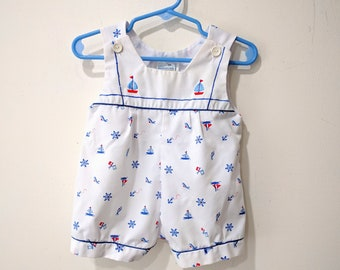 Sailor Romper with hat / nautical romper red white and blue / by Mothercare size 6-9 months