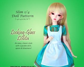 Looking Glass Lolita dress doll clothes sewing pattern for Slim 1/4 MSD BJD: Minifee, Fashion Royalty 16, Ellowyne Wilde, tonner