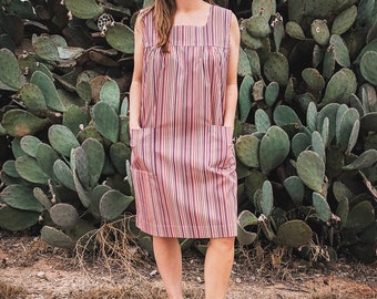 Vintage Dress | Shift Dress | House Dress | Vintage House Dress | Handmade Dress | 60s Dress | Striped Dress | Summer Dress | Size L