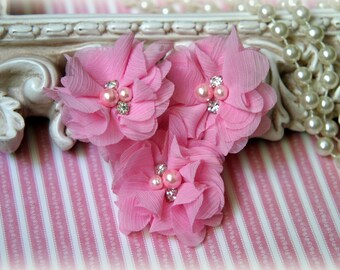 Pink Chiffon Flowers with Pearls and Rhinestone Center, for Headbands, Clothing, Sashes, Crafting,Set of 3, approx. 2 inches across, FL-168
