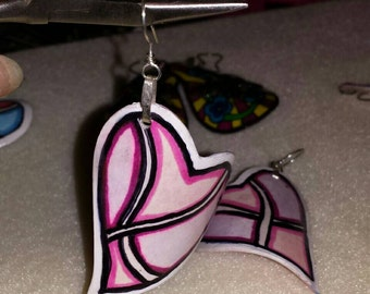 Pink Art Earrings