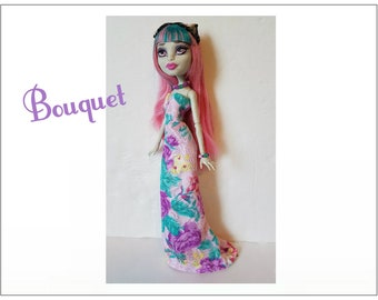 Monster High Doll Clothes - BOUQUET Lavender Floral Gown and Jewelry Set - Handmade Fashion by dolls4emma