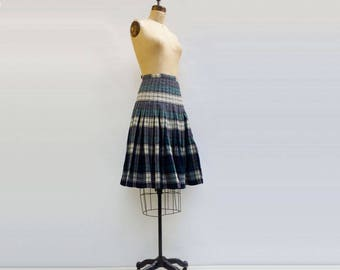 50s Plaid Skirt 50s Pleated Skirt Reversible Skirt Wool Plaid Skirt Turnabout Skirt Blue Plaid Skirt Green Plaid Skirt School Girl Plaid m