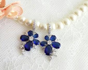 Sapphire blue flower earrings, flower bridal earrings, blue wedding jewelry, sapphire earrings, bridal jewellery, blue flower earrings OOAK