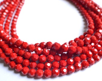 Ariel - Red Glass Multi Strand Statement Necklace
