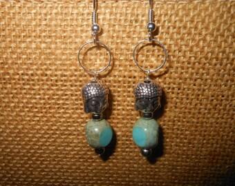 Buddha and turquoise beads earrings