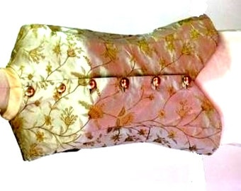 Gold flowered silk brocade vest lined with china silk