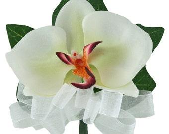 Tropical Silk Orchid Corsage White/Fuchsia