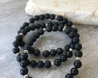 Black Onyx, Mens Bracelet, Matte Black Onyx, Mens Fashion, Unisex Bracelet, Natures Splendour Jewelry, Stretch Bracelet, Silver and Black