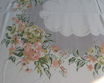 Take 15% off RARE Vintage 1950s cotton tablecloth and 8 napkins 61x71