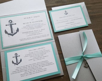 Nautical Theme, Destination Wedding Invitation, Anchor, Aqau, Silver, Glitter, Pocket Invitation