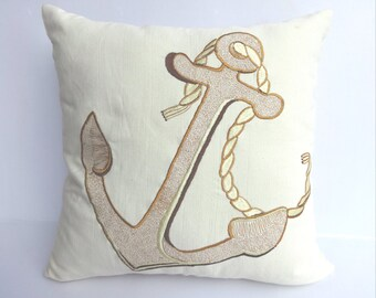STOCK CLEARANCE 20% OFF- Cream Anchor pillow Cover beach decor.  Noticul pillow costal pillow.   18 inch- sea theme pillow 1 instock.
